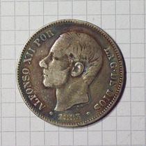 España 5 Pesetas Plata 1883 Muy Linda