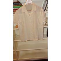 Blusa Camisa De Seda Color Manteca Talle M