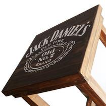 Juego Mesa + 2 Sillas Alta Bar Madera Jack Daniels 92x60x60