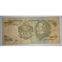Billete Uruguay 100 Nuevos Pesos Moneda Nacional