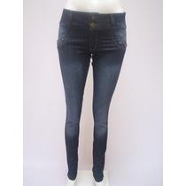 Jeans Chupin Elastizado Para Mujer Tiro Alto