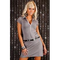 Vestido Corto De Jersey De Seda Con Cierre Y Cinto T: M.
