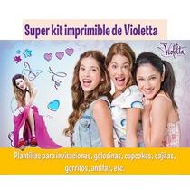Kit Imprimible Violetta-candy Bar,invitaciones,cotillon,etc