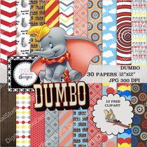 Kit Imprimible Dumbo 12 Clipart - 30 Fondos *promo*