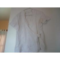 Camisa Cruzada De Vestir Bordada Calada Elegante Talle 44