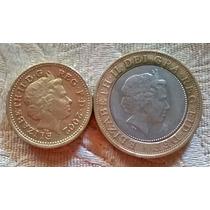 Lote X 2 Gran Bretaña, 2 Libras (bimetalica) Y 1 Libra 2002