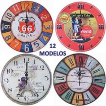 Reloj De Pared 30 Cm Vintage Romanticos Deco 12 Modelos
