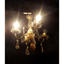 Araña De Cristal Y Bronce, Con Caireles Y Alabastro