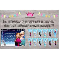 Frozen Cartel Bienvenida Y Banderín Tematico Personalizado