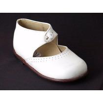 Zapatos Beba-legítimo Cuero Blanco-un Solo Uso- 16 Y 21