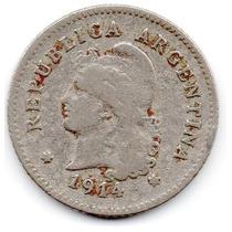 Moneda Argentina Muy Antigua 10 Ctvs.1914.hermosa.muy Escasa