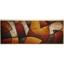 Cuadro Abstracto Moderno Con Textura Simil Piedra 230 X 83cm