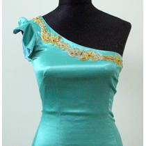 Original Vestido Un Hombro Verde Esmeralda Las Oreiro - Envi