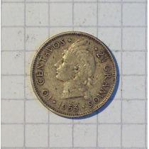 Republica Dominicana 10 Centavos Plata 1953