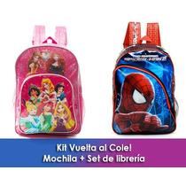 Kit Vuelta Al Cole Mochila + Útiles Princesas O Spiderman