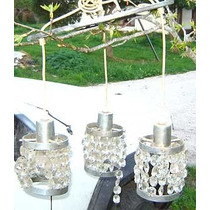 3 Colgante Caireles Cristal Aluminio Diseño Retro Vintage