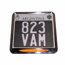 Porta Patente Cromado Modelo De Chapa Nueva En Ruta 3 Motos