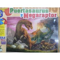 Puzzle Reversible Megaraptor Puertasaurus 3d 204p Dinosaurio
