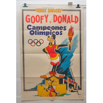 Walt Disney Goffy Donald Campeones Olimpicos Afiche 70 80