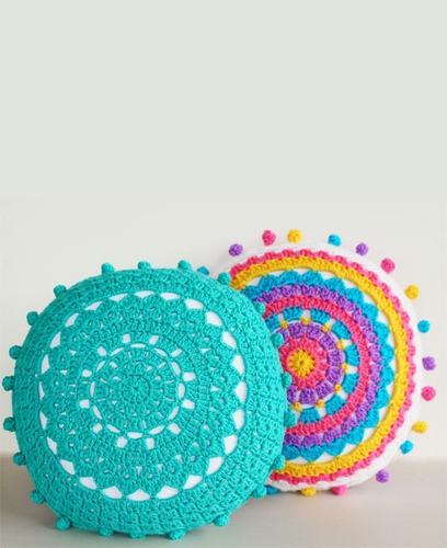 Almohadones redondos al crochet imagui - Cojines redondos ...