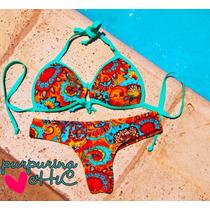 Bikini Mujer Turquesa Dibujos Sexy Verano Diseño Exclusiva