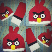 Bufanda/gorro Tejido Crochet Angry Birds