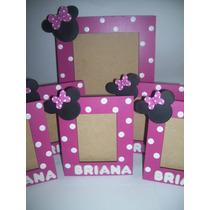 Portarretratos Minnie Mickey Con Nombre En Porcelana Fría