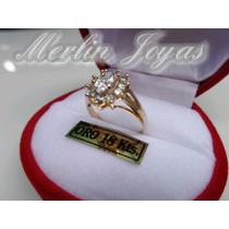 Anillo De Oro 18k Roseta Circones Blanco - M. J. -