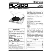 Pioneer Pl 300 Manual De Usuario En Idioma Ingles