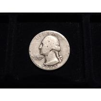 Moneda 1/4 De Dolar De Eeuu Plata 900 1945 Cuarto Estados