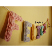 Guirnalda Con Nombre Tejida Al Crochet (9 Letras)
