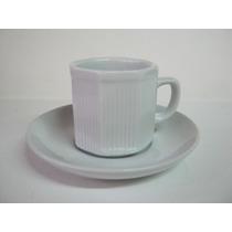 Juego Cafe Porcelana Decorado Pocillo Blanco 6 Personas