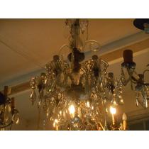 Antigua Araña De Cristal Con Caireles Restaurada 6 Luces