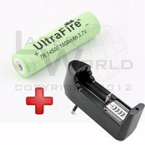 Combo Pila 14500 Recargable 3.7v 700mah Ultrafire Y Cargador