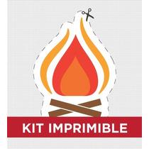 Kit Imprimible Fuego Y Agua Bautismo Golosinas Invitacion
