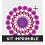 Kit Imprimible Flores Cumple Adultos Invitacion Souvenir