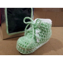Escarpines Verde Agua /blanco Recien Nacidos De 0 A 3 Meses