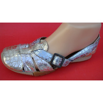 Chiarini, Zapatos 36 Cuero Plateado Dorado Aquama (ana.mar)