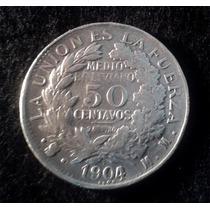 Moneda De Plata. 50 Centavos. Bolivia. 1904.