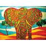 Psychedelic Elefante En Tela Canvas De 90x65 Cm Exelente