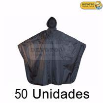 Poncho Capa Para Lluvia Unisex De Adulto Color Negro Pvc 50u