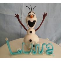 Olaf De Frozen + Nombre Porcelana Fría Adorno Torta