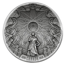 Moneda Plata Cúpula Biblioteca Parlamento Canadiense 2016