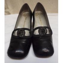 Zapatos De Cuero De Mujer Con Taco Medio Talle 36