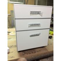 Bm Cajonero , Cocina Melamina ,bco 3 Cajones 60 Cm Aluminio