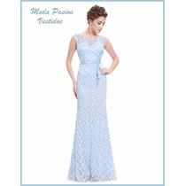 Vestido Delicado Entallado Color Cielo Encaje Moda Pasion
