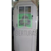 Aberturas: Puerta Alum Blanco 1/2 Vid Rep C/postigo De Abrir