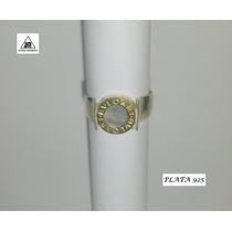 Anillo Estilo Bulgary De Plata 925 Con Nacar Ydetalles Oro