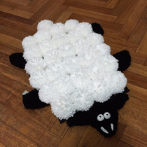 Alfombra De Diseño Oveja Sheep De Pompones De Lana 35x50