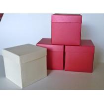 25 Cajas Cubo De Cartulina Metalizada Color A Eleccion